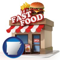 arkansas map icon and a fast food restaurant