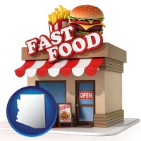 arizona map icon and a fast food restaurant