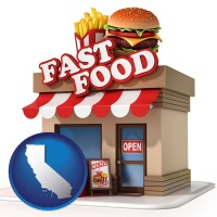 ca map icon and a fast food restaurant