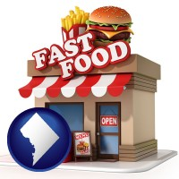 washington-dc map icon and a fast food restaurant