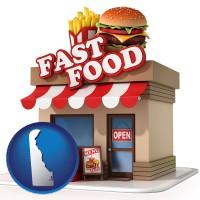de map icon and a fast food restaurant