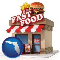 florida map icon and a fast food restaurant