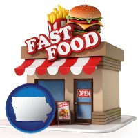 iowa map icon and a fast food restaurant