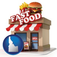 idaho map icon and a fast food restaurant