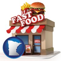 minnesota map icon and a fast food restaurant