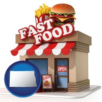 nd map icon and a fast food restaurant