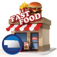 ne map icon and a fast food restaurant