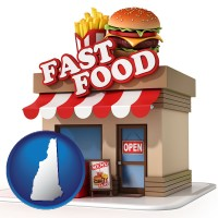 nh map icon and a fast food restaurant