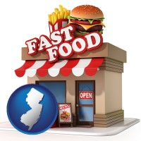 nj map icon and a fast food restaurant