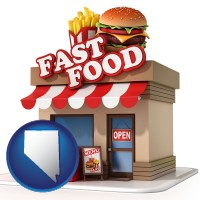 nv map icon and a fast food restaurant
