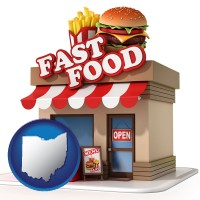oh map icon and a fast food restaurant
