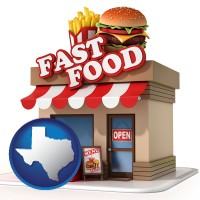 tx map icon and a fast food restaurant