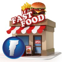 vermont map icon and a fast food restaurant