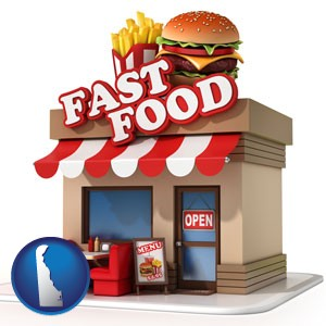 a fast food restaurant - with Delaware icon