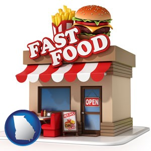 a fast food restaurant - with Georgia icon