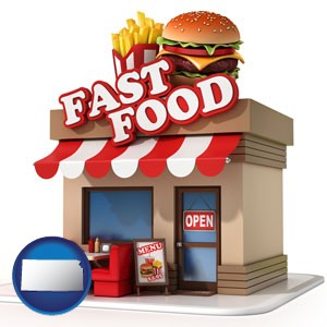 a fast food restaurant - with Kansas icon
